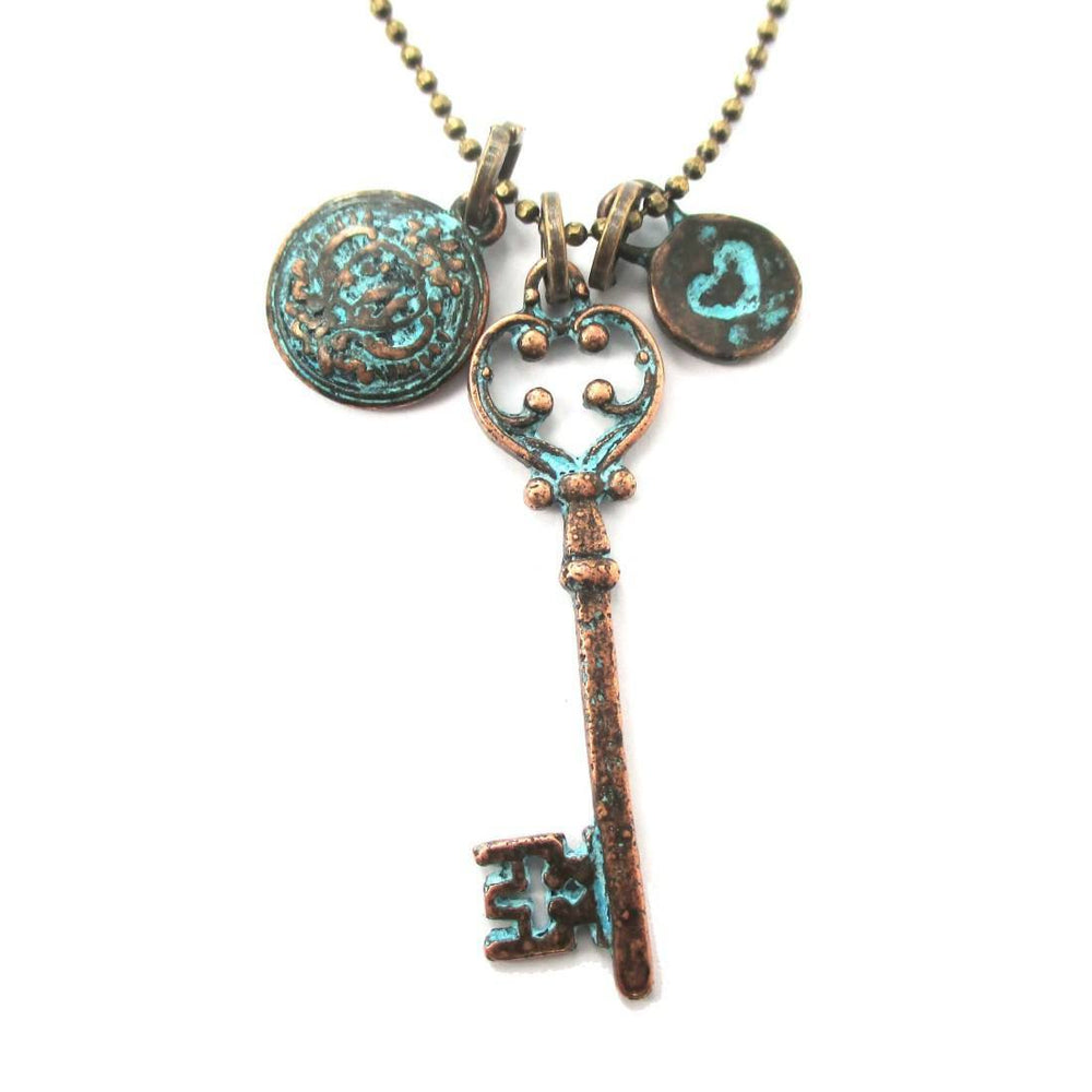 Antique Skeleton Key Heart and Crest Shaped Charm Necklace in Brass | DOTOLY | DOTOLY