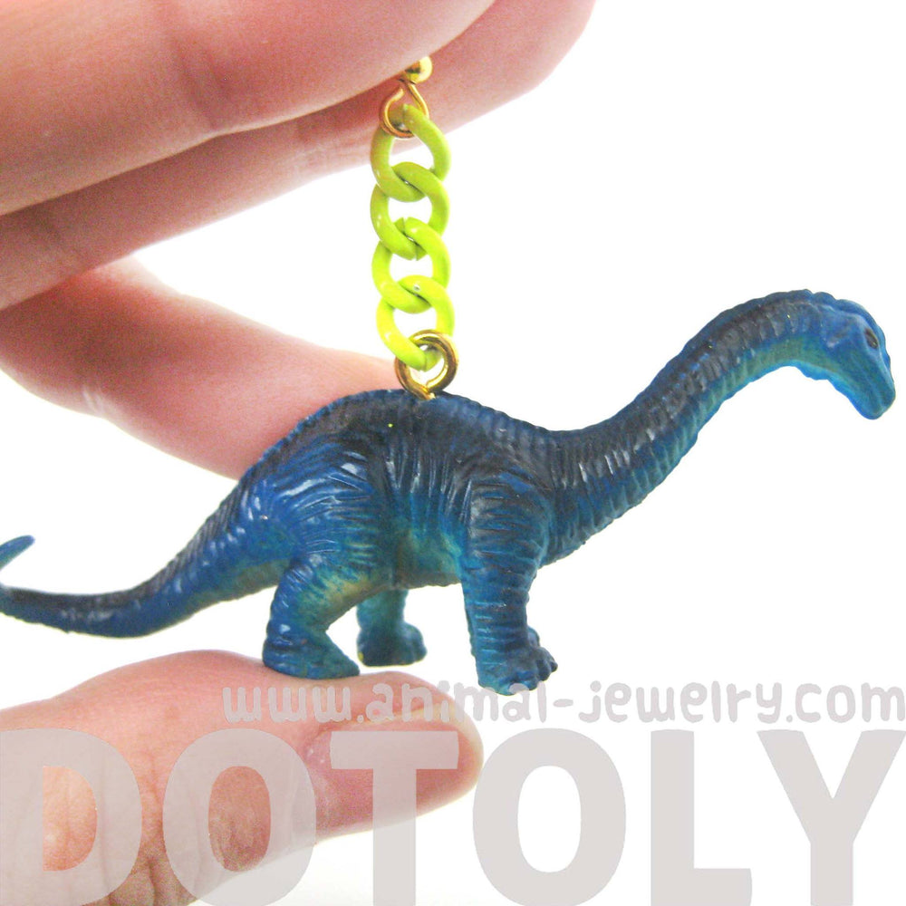 Apatosaurus Brontosaurus Dinosaur Animal Figurine Shaped Dangle Earrings in Blue | DOTOLY