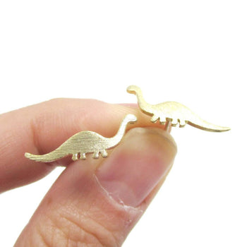 Apatosaurus Dinosaur Silhouette Prehistoric Animal Themed Stud Earrings in Gold | DOTOLY