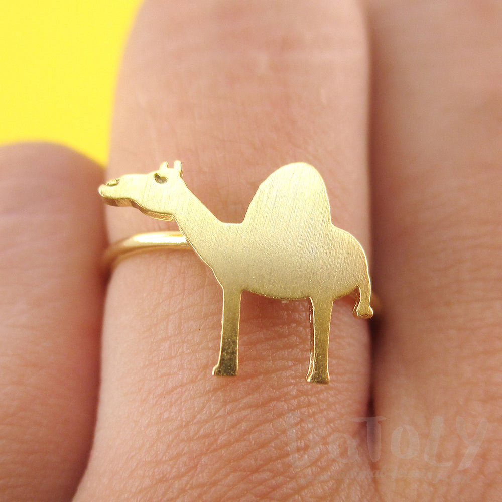 Arabian Camel Silhouette Shaped Adjustable Animal Ring in Gold | DOTOLY