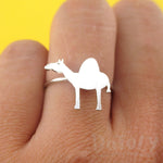 Arabian Camel Silhouette Shaped Adjustable Animal Ring in Silver | DOTOLY
