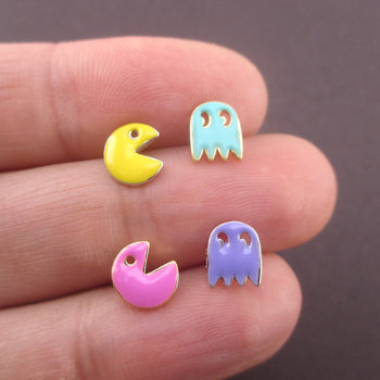 Arcade Games Themed Pac-Man Ghost Space Invaders Stud Earrings