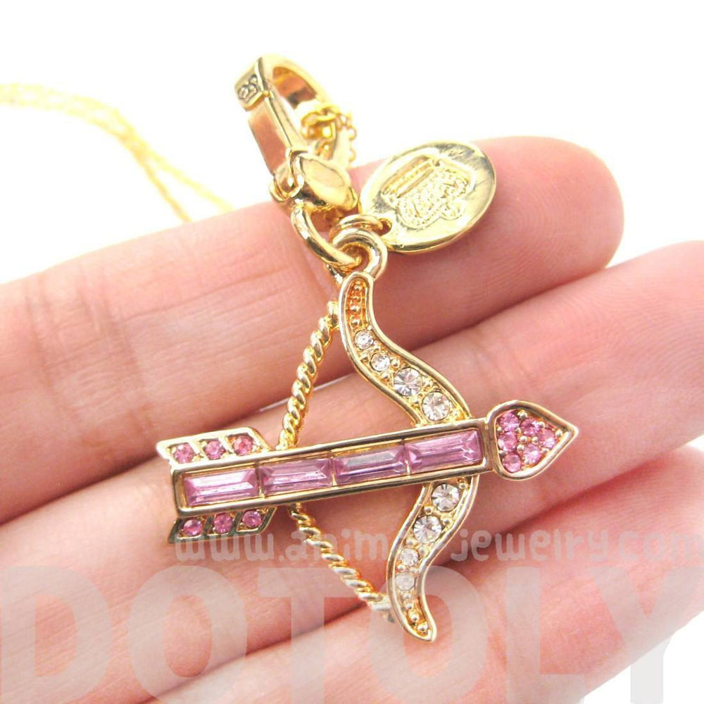 Arrow Bow Cupid Love Themed Pendant Necklace in Pink with Rhinestones | Limited Edition | DOTOLY