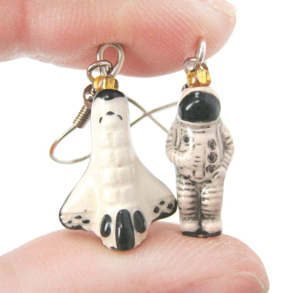 Astronaut and Rocket Shaped Porcelain Ceramic Space Themed Dangle Earrings | Handmade | DOTOLY
