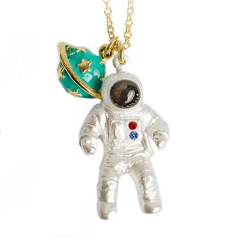 Astronaut and Saturn Space Travel Themed Pendant Necklace | DOTOLY