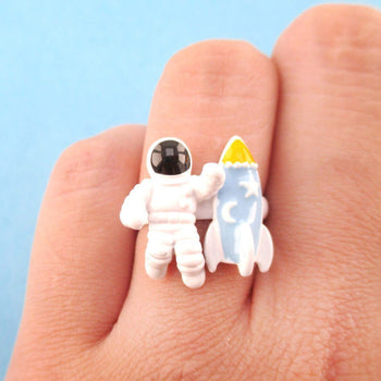 Astronaut and Spaceship Shaped Space Themed Adjustable Ring | DOTOLY | DOTOLY