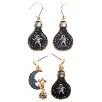 Astronaut in A Light Bulb Crescent Moon Space Themed Stud Earrings