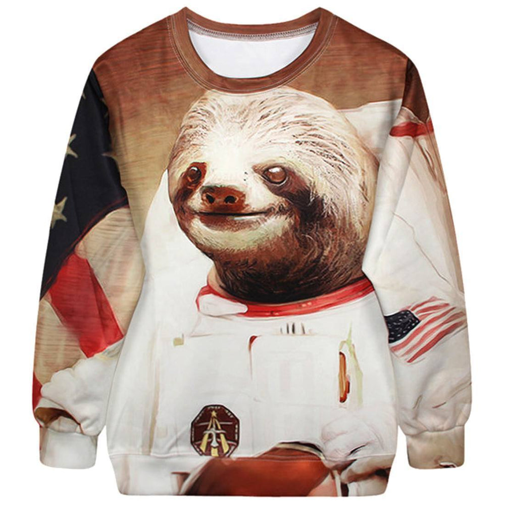 Astronaut Space Sloth Animal Meme Graphic Print Unisex Pullover Sweater | DOTOLY