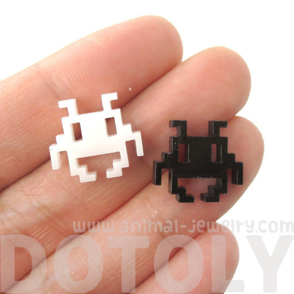 Atari Space Invaders Pixel Alien Shaped Laser Cut Stud Earrings in Black and White | DOTOLY