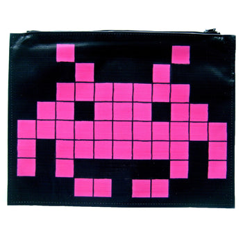 Large Upcycled Vinyl Atari Space Invaders Pixel Alien Banner Print Clutch Bag | DOTOLY
