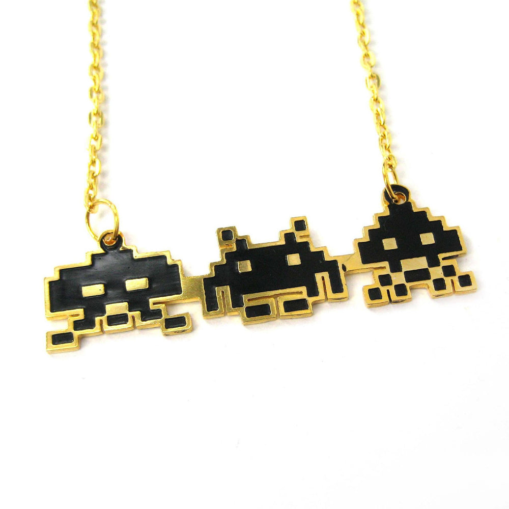 Atari Space Invaders Themed Pixel Alien Pendant Necklace | Limited Edition | DOTOLY