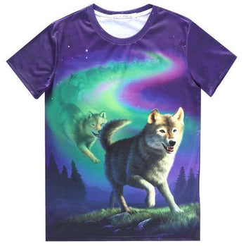 Aurora Wolf Pack Animal Totem Graphic Tee T-Shirt in Purple | DOTOLY