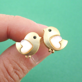 Baby Chick Bird Shaped Stud Earrings with Heart Shaped Wings in Gold