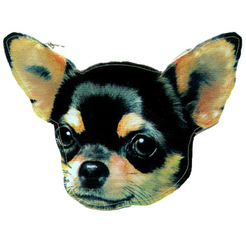 Baby Chihuahua Black and Tan Puppy Dog Head Shaped Vinyl Animal Themed Clutch Bag | DOTOLY