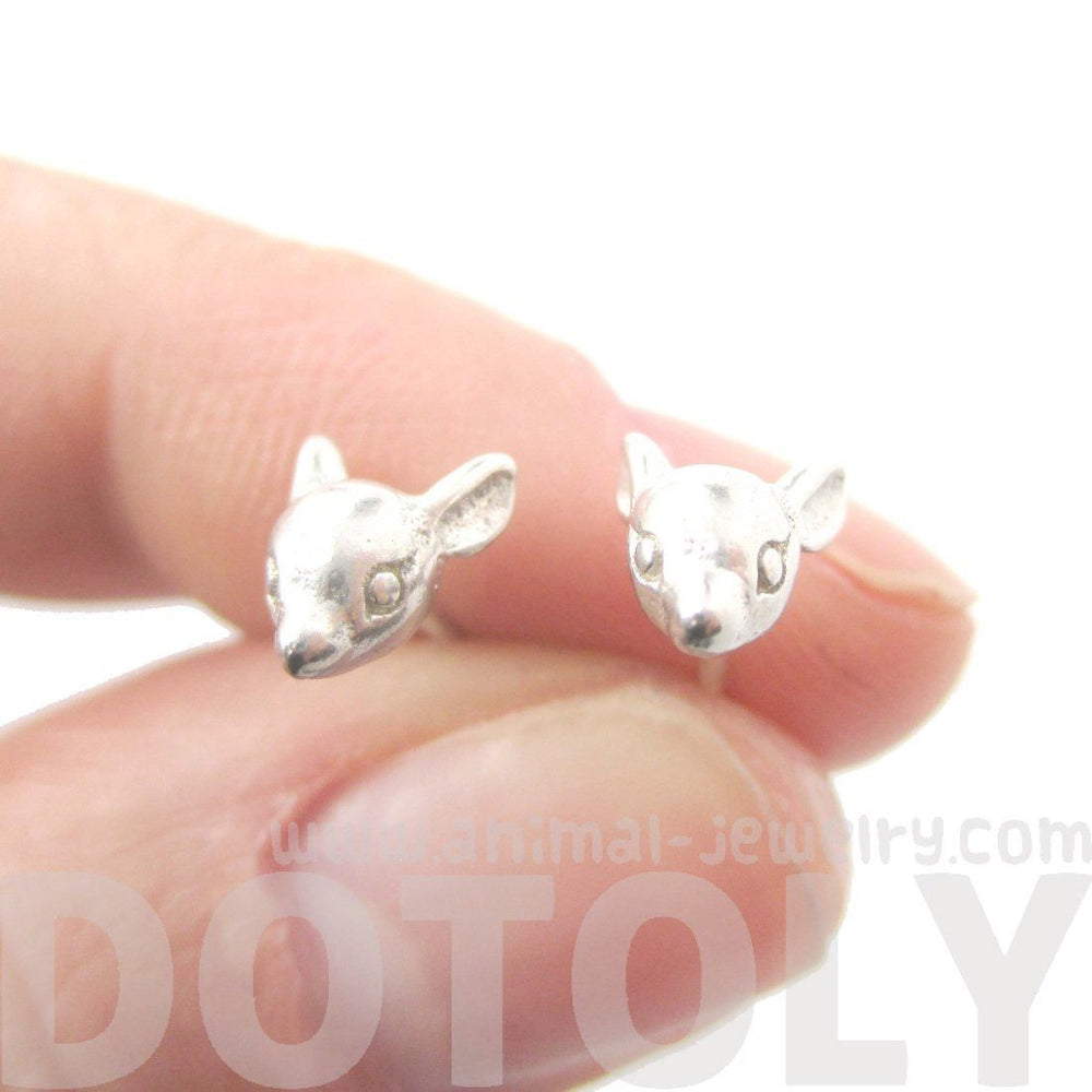 Baby Deer Doe Shaped Sleek Animal Head Stud Earrings in Silver | DOTOLY | DOTOLY