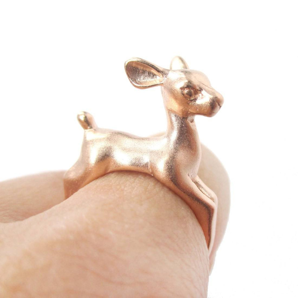 Baby Deer Doe Shaped Sleek Animal Wrap Around Ring in Rose Gold | US Size 5 to 8 | DOTOLY