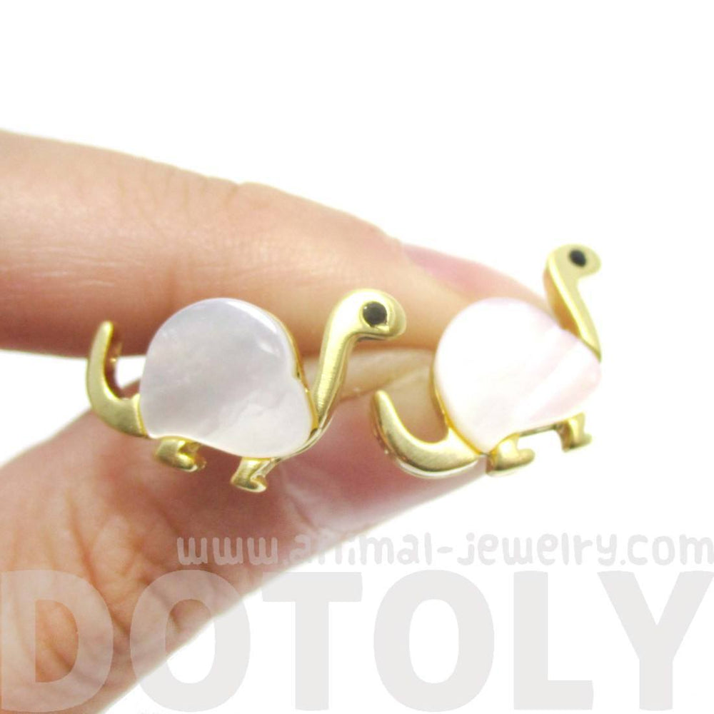 Baby Dinosaur Shaped Animal Themed Stud Earrings in Gold with Pearl Detail | DOTOLY | DOTOLY