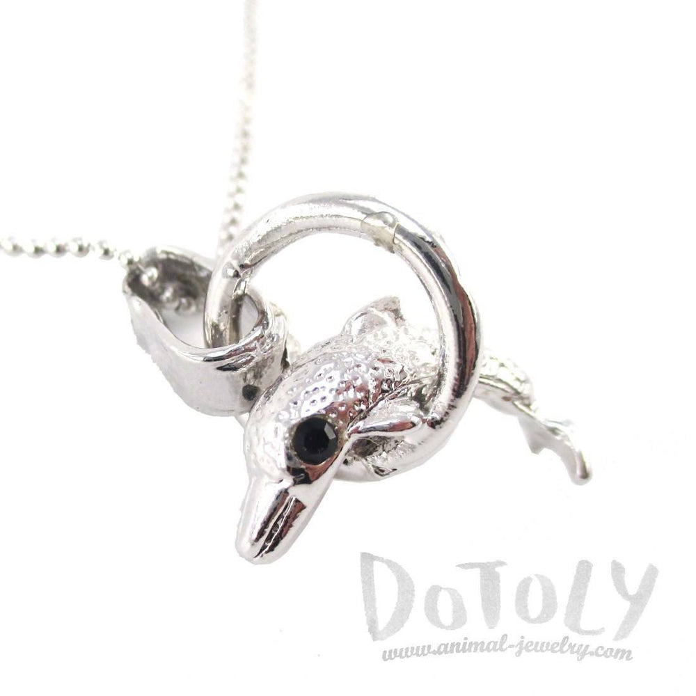 Baby Dolphin Jumping Through a Hoop Shaped Pendant Necklace in Silver