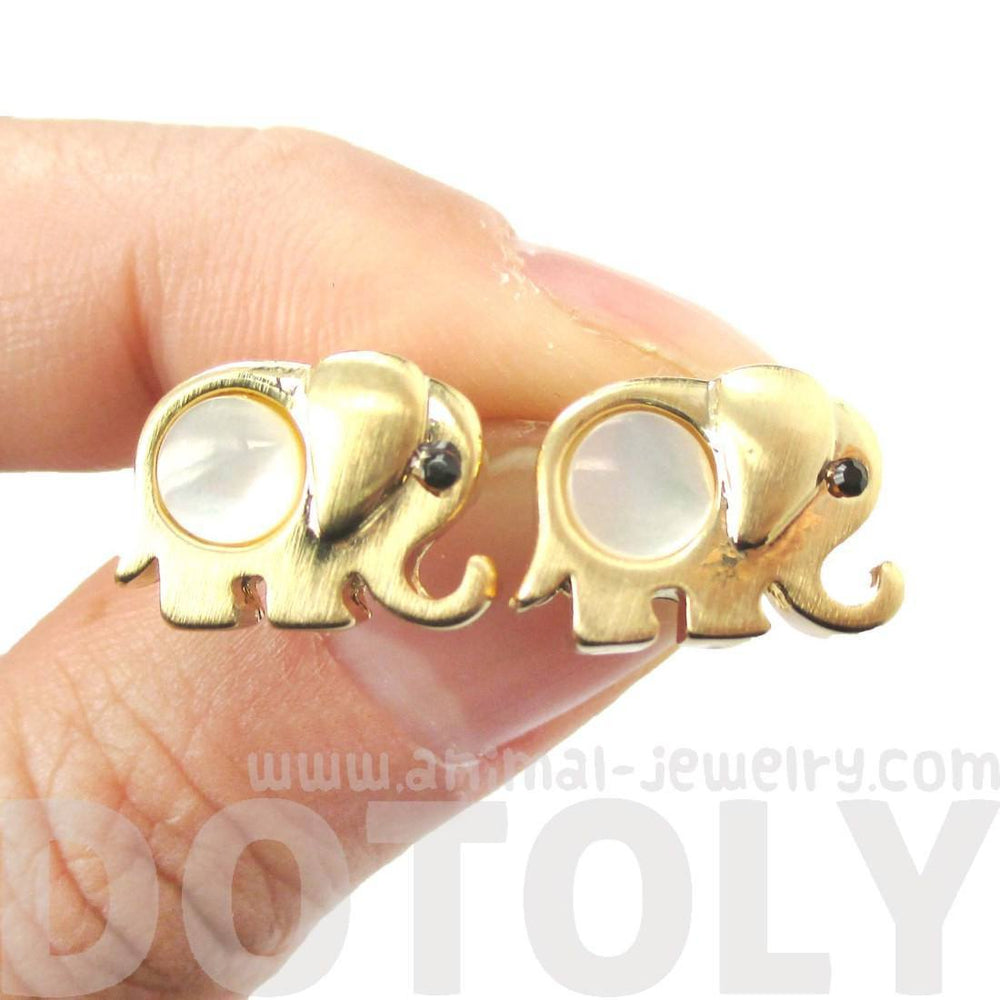 Baby Elephant Animal Shaped Stud Earrings in Gold with Pearl Detail | DOTOLY