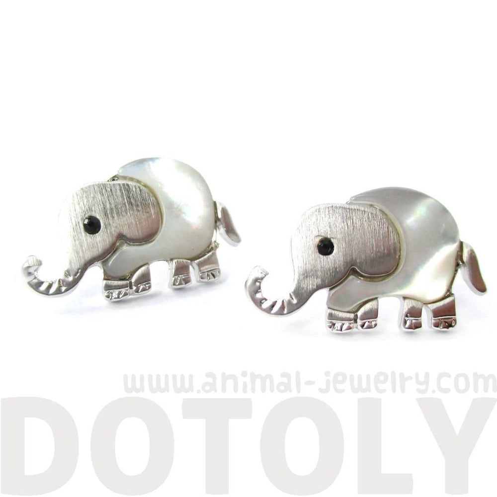 Baby Elephant Animal Shaped Stud Earrings in Silver with Pearl Detail | DOTOLY