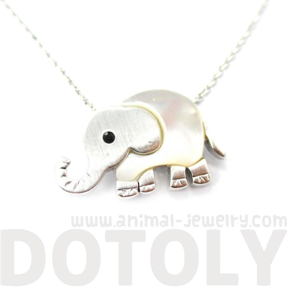Baby Elephant Shaped Animal Charm Necklace in Silver with Pearl Detail | DOTOLY