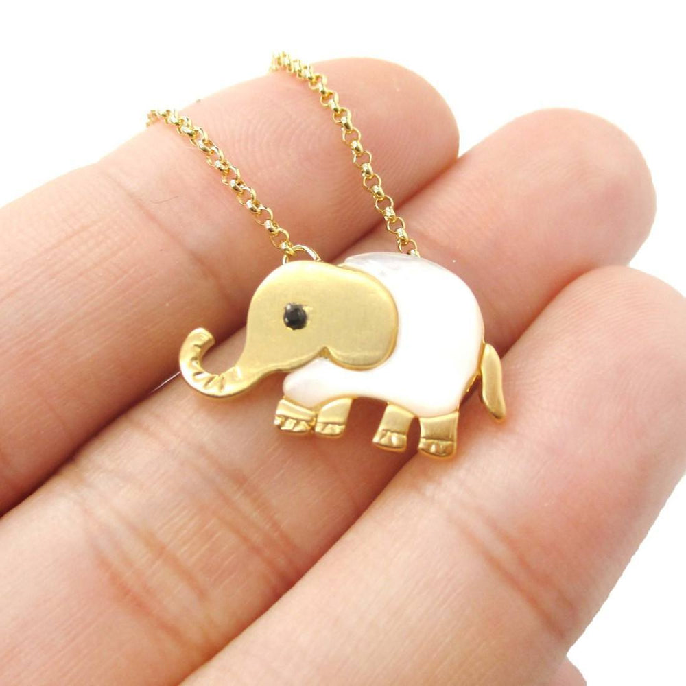 Baby Elephant Shaped Animal Charm Necklace in Gold with Pearl Detail | DOTOLY