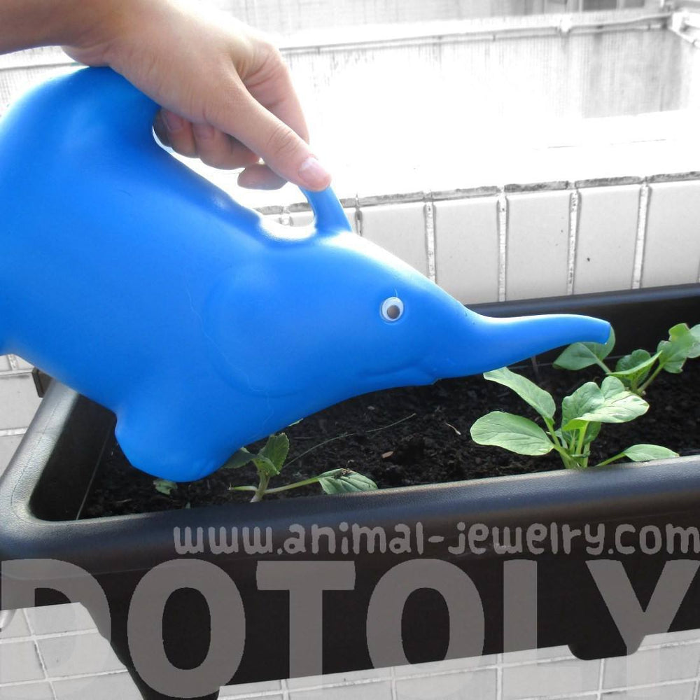 Baby Elephant Shaped Plastic Watering Can for Gardening in Blue | Animal Themed Home Decor | DOTOLY