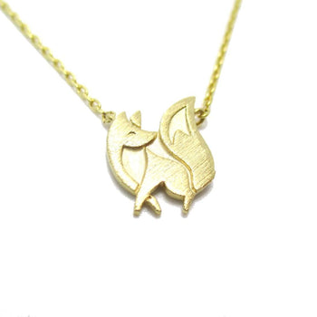 Baby Fox Shaped Silhouette Pendant Necklace in Gold | Animal Jewelry | DOTOLY
