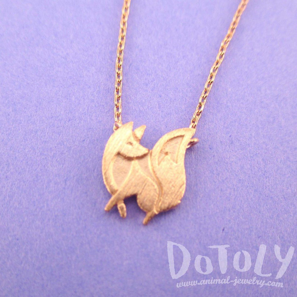 Baby Fox Shaped Silhouette Pendant Necklace in Rose Gold | Animal Jewelry | DOTOLY