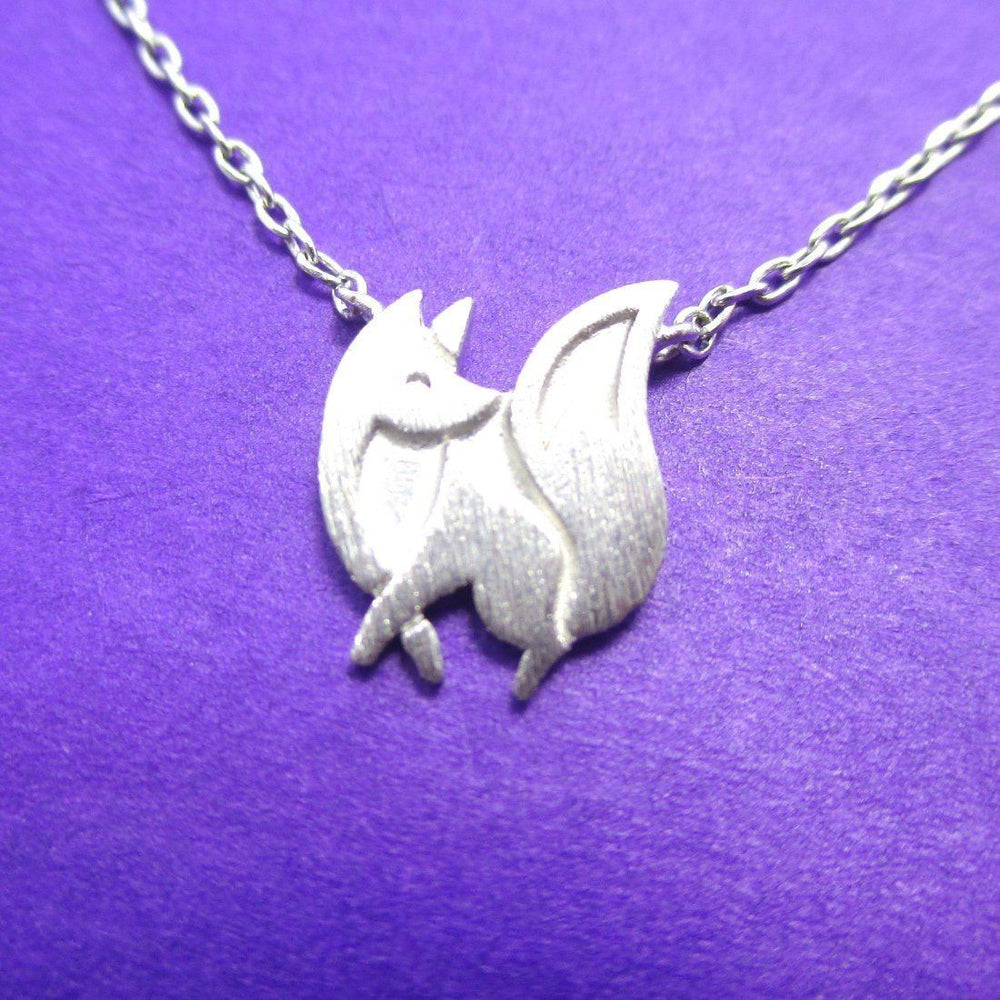 Baby Fox Shaped Silhouette Pendant Necklace in Silver | Animal Jewelry | DOTOLY