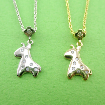 Baby Giraffe With Rhinestone Polka Dots Shaped Pendant Necklace