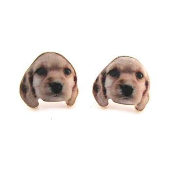 Baby Golden Retriever Puppy Photo Print Shaped Stud Earrings | DOTOLY