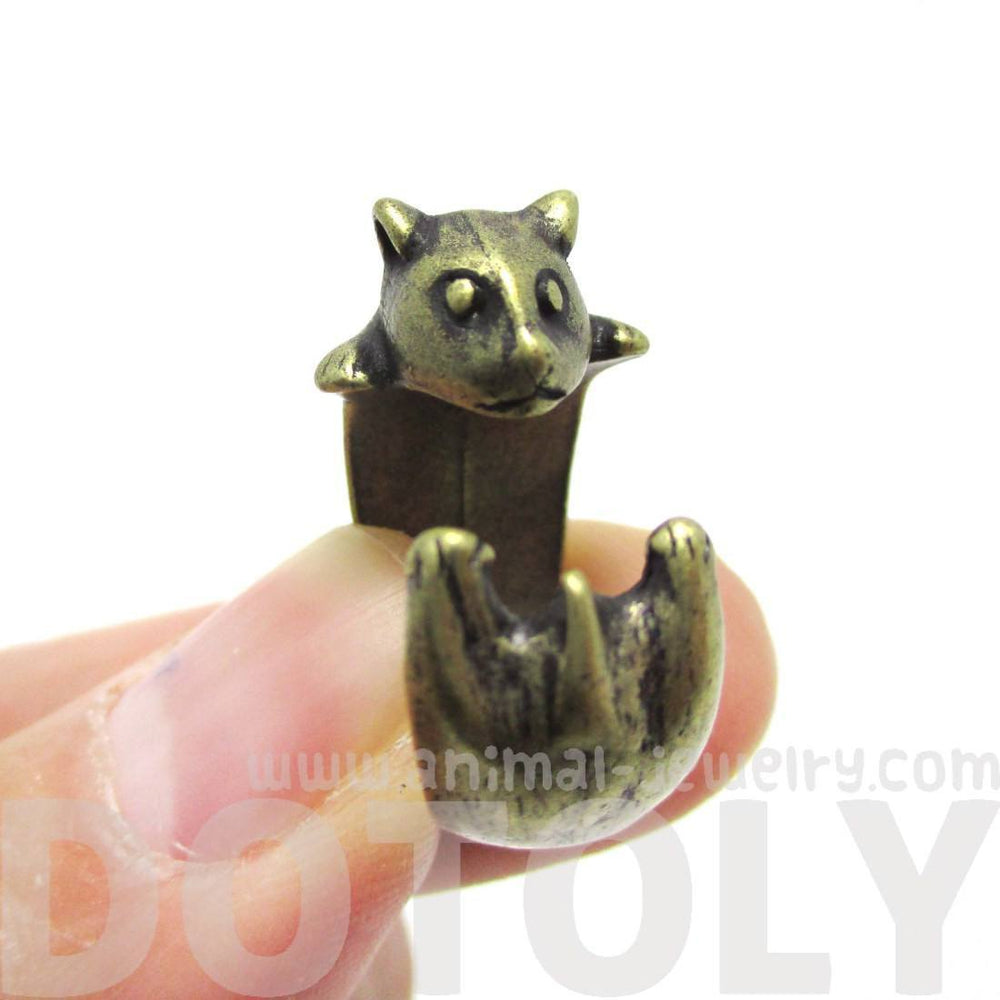 Baby Hamster Guinea Pig Gerbil Shaped Animal Wrap Ring in Brass | US Sizes 3 to 6.5 | DOTOLY
