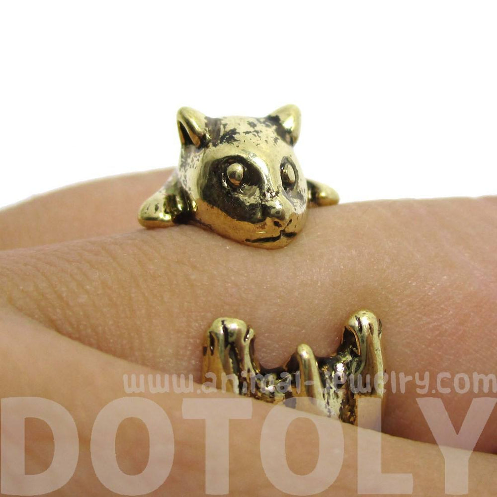 Baby Hamster Guinea Pig Gerbil Shaped Animal Wrap Ring in Shiny Gold | US Sizes 3 to 6.5 | DOTOLY