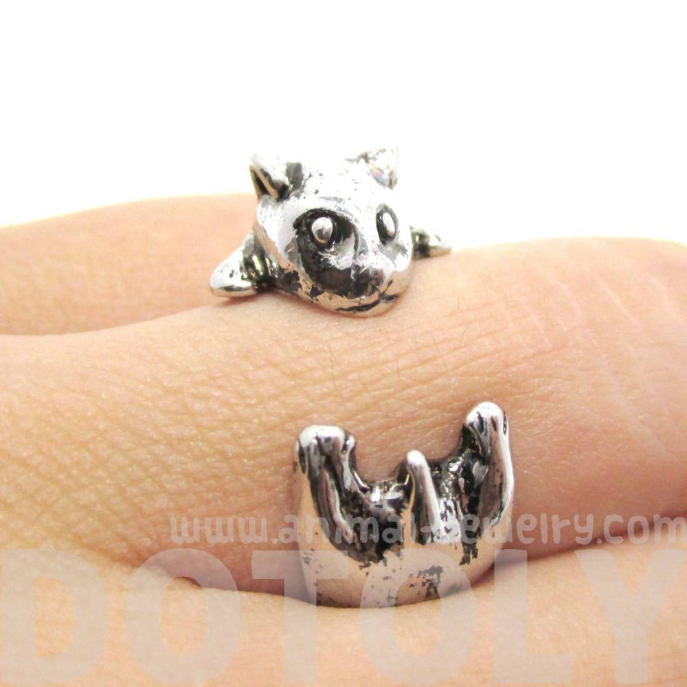 Baby Hamster Guinea Pig Gerbil Shaped Animal Wrap Ring in Shiny Silver | US Sizes 3 to 6.5 | DOTOLY