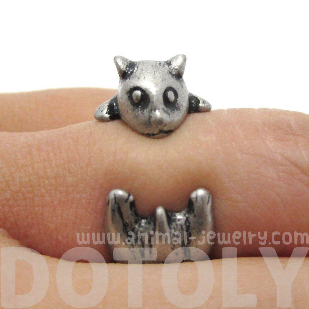 Baby Hamster Guinea Pig Gerbil Shaped Animal Wrap Ring in Silver | US Sizes 3 to 6.5 | DOTOLY