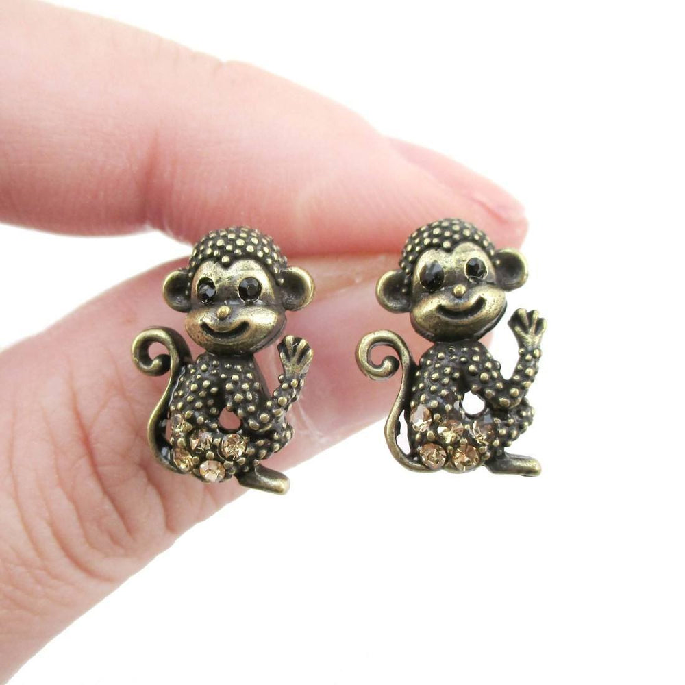 Baby Monkey Chimpanzee Shaped Rhinestone Stud Earrings in Brass | DOTOLY | DOTOLY