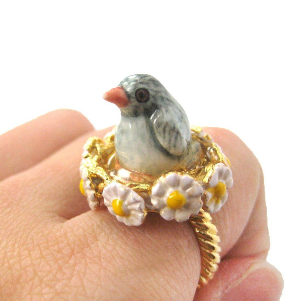 Baby Penguin Bird Shaped Ceramic Porcelain Animal Ring with Daisy Textured Border | Limited Edition | DOTOLY