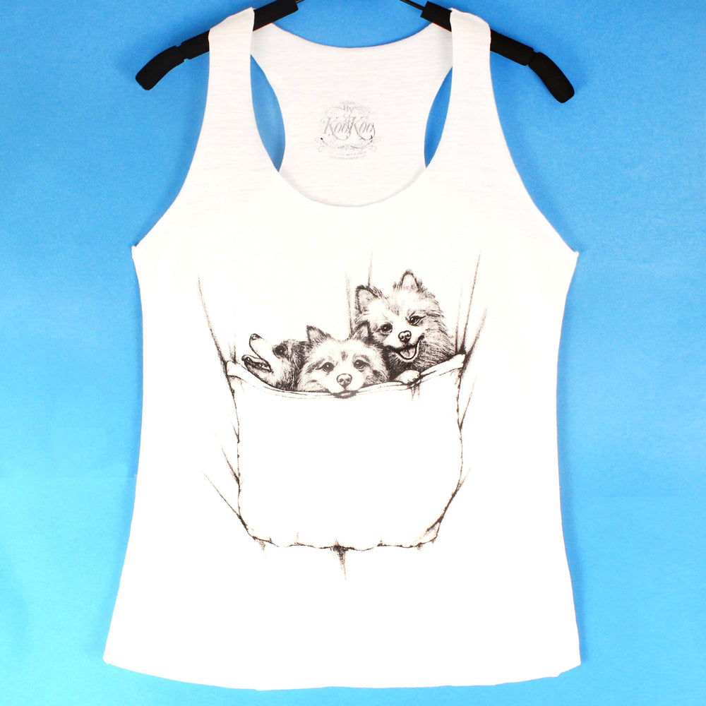 Baby Pomeranian Puppies Animal Graphic Print Racerback Tank Top in White | DOTOLY