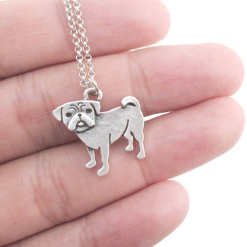 Baby Pug Puppy Shaped Charm Necklace in Silver | Animal Jewelry