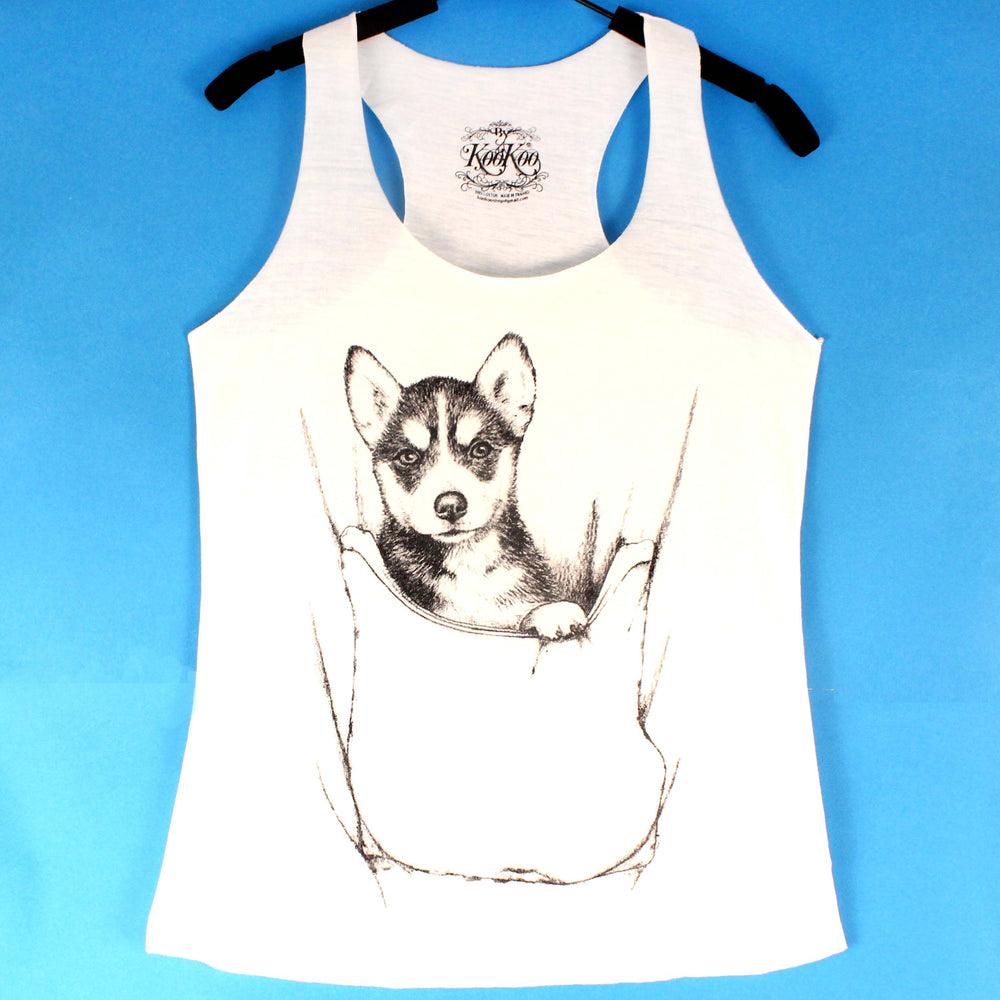 Baby Siberian Husky Puppy Dog Animal Graphic Print Racerback Tank Top in White | DOTOLY