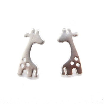 Baby Spotted Giraffe Silhouette Animal Shaped Stud Earrings | Allergy Free | DOTOLY