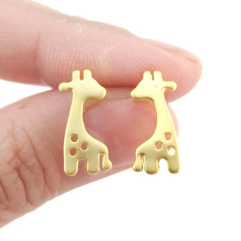Baby Spotted Giraffe Silhouette Animal Shaped Stud Earrings in Gold | Allergy Free | DOTOLY