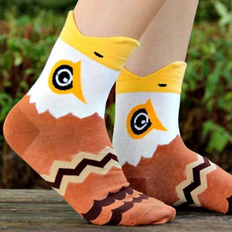 Bald Eagle Hawk Bird Shaped Animal Short Cotton Socks for Women | DOTOLY
