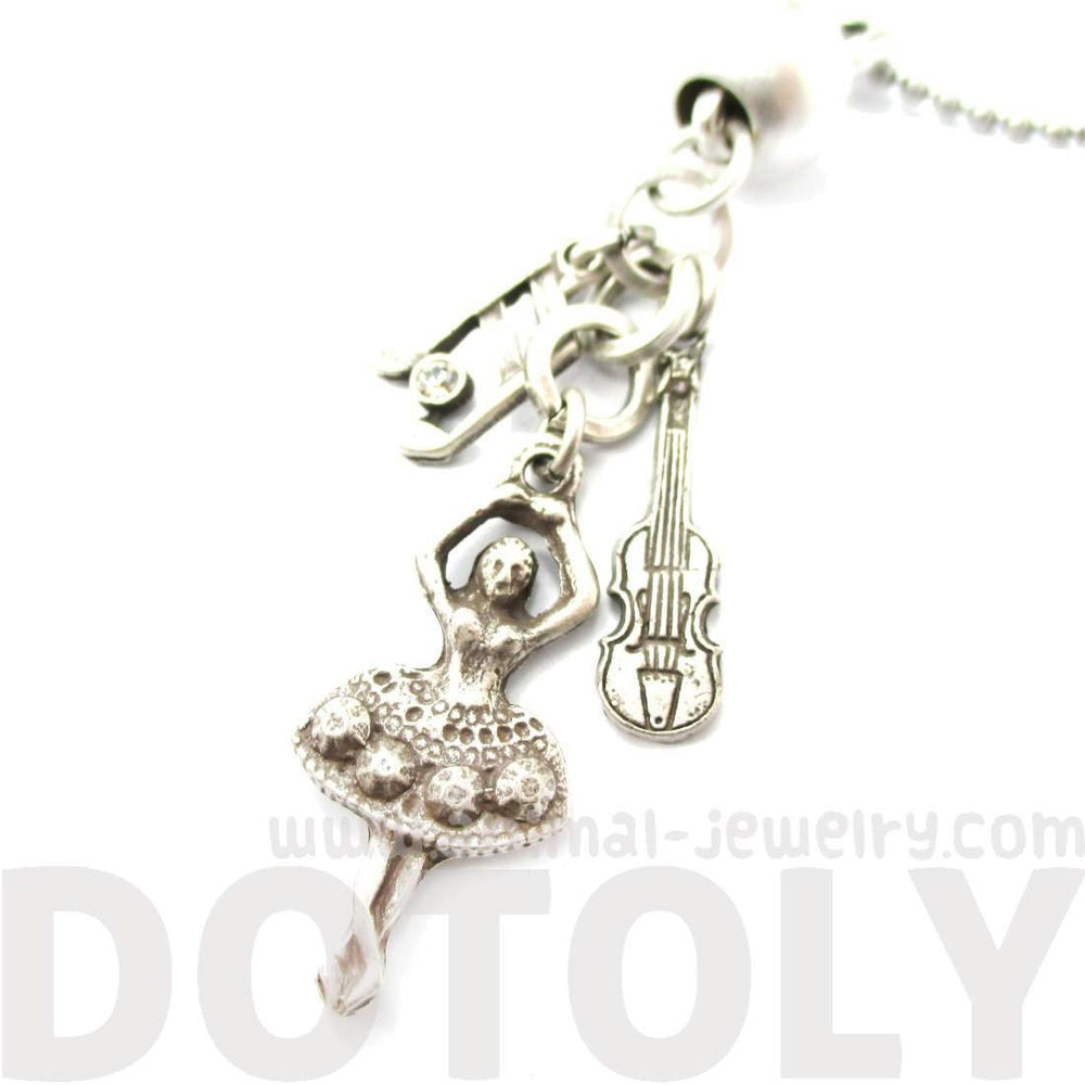 Ballerina Musical Notes and Violin Shaped Music Themed Charm Necklace in Silver | DOTOLY