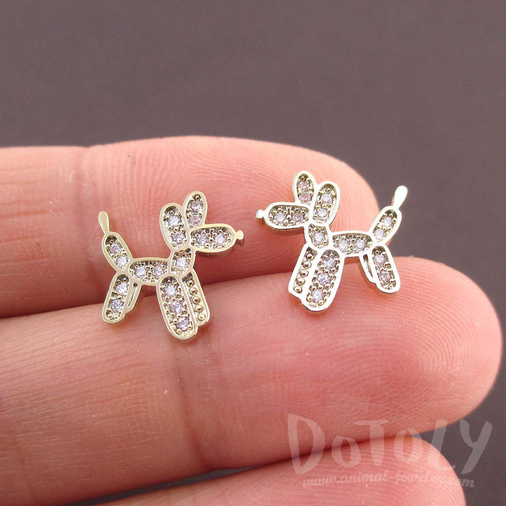 Balloon Dog Twisted Animal Shaped Rhinestones Stud Earrings in Gold