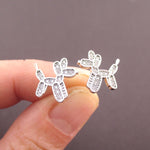 Balloon Dog Twisted Animal Shaped Rhinestones Stud Earrings in Silver