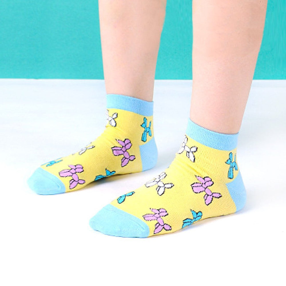 Balloon Dog Shaped Animal Graphic Print Cotton Short Ankle Socks for Women in Yellow | DOTOLY