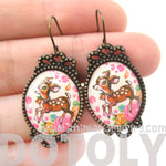 Bambi Deer Doe Illustrated Resin Dangle Earrings with Floral Details | Animal Jewelry | DOTOLY