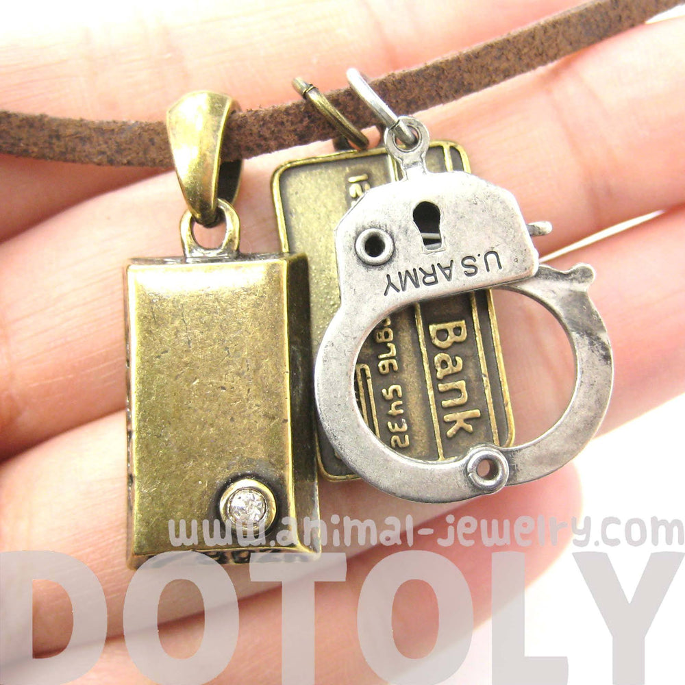 Bank Heist Themed Handcuff Gold Bar Bank Card Charm Necklace | DOTOLY | DOTOLY